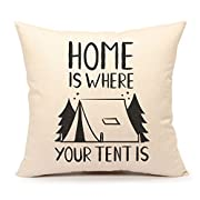 4TH Emotion Home Is Where Your Tent Is Throw Pillow Case Cushion Cover Cotton Linen 18 x 18 Inch(Teepee)