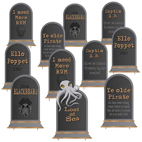 Halloween Headstones Make Your Own (VictoryStore Pirate Tombstones Pirate Halloween Yard Decoration Set of 11, 16 Inches by 23.5)