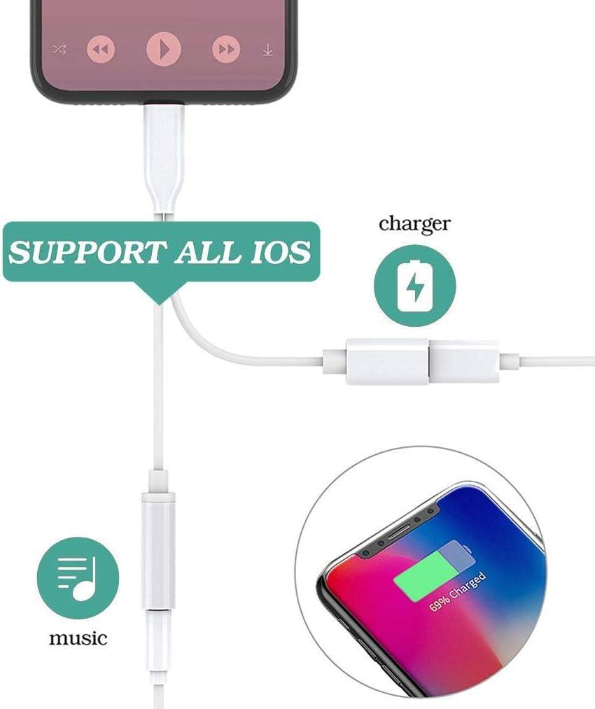 Wei/ß Kopfh/örer Adapter f/ür iPhone 11 3,5mm Klinke Splitter Dongle Kopfh/örer Jack Zubeh/ör Kabel zum Aux-Audio-Anschluss f/ür iPhone X//Xs//XS Max//8//8 Plus//7//7 Plus Unterst/ützung IOS12 oder h/öher