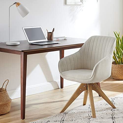 Art Leon Mid-Century Modern Swivel Accent Chair Off White