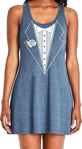 Amdesco Ladies Tuxedo with White Bowtie Tux Casual Racerback Tank Dress, Indigo Medium - Tuxedo Ruffled Top
