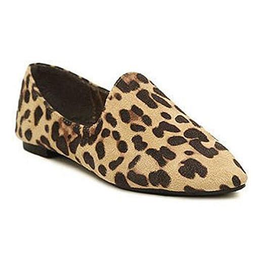 Leopardo De Las Mujeres Zapatos Casuales Planos En Punta ResbalóN En Los Mocasines Faux Suede Lentejuelas Suela Suave Damas CóModas Calzado De TacóN Bajo: ...