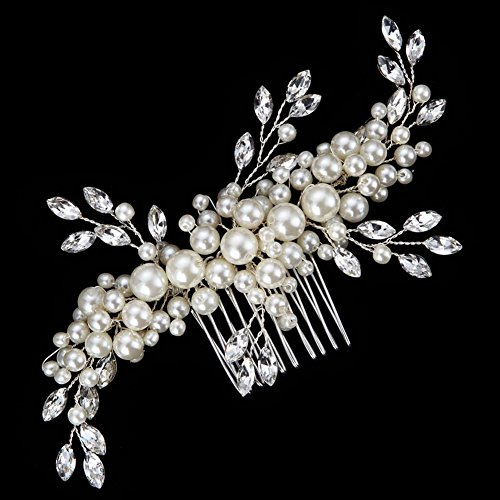 FAYBOX Elegant Cream Simulated Pearl Austrian Crystal Leaves Bridal Hair Comb Wedding Accessories