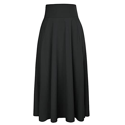 a9c7680123 UOFOCO Skirts for Women Maxi Skirt High Waist Pleated A Line Long Front  Slit Belted Black