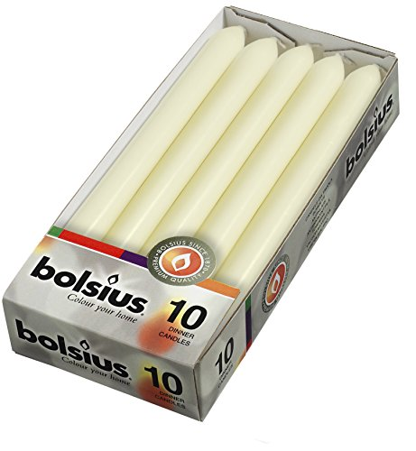 BOLSIUS Ivory Dinner Candles - 7.5 Long Burning Hours - Smokeless 10-inch Tall Burning Candles for Wedding, Holiday, Ceremonies and Home Decoration - Pack of 10 Household Dripless Candles (Candles Uk Taper)