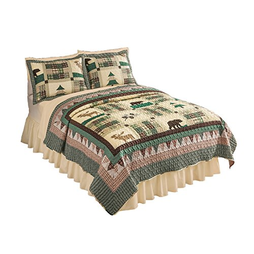 Rustic Northwood's Lodge Moose Bedroom Quilt, Twin (Comforter Set Bear Twin Plaid)