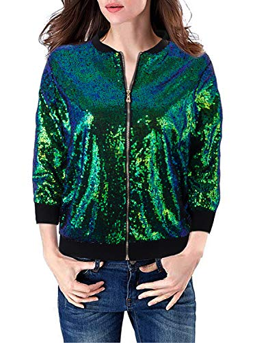 (VIJIV Womens Casual 3/4 Sleeves Sequin Blazer Jacket Front Zip Short Bomber Jacket Coat Party Night Sexy Green L)