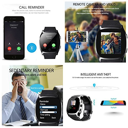 Smart Watch,Hizek Smart Wrist Watch with Camera Pedometer Sport Tracker 1.54 inch Touch Screen Support TF SIM Card Slot for Android and iOS iPhone Samsung LG (Black) by Hizek (Image #6)