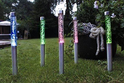 Solarlampe im 5er-Set LED 40cm im Farbwechsel mit Erdspieß Solarleuchte Gartenlampe Exclusiv (Mehrfarbig)