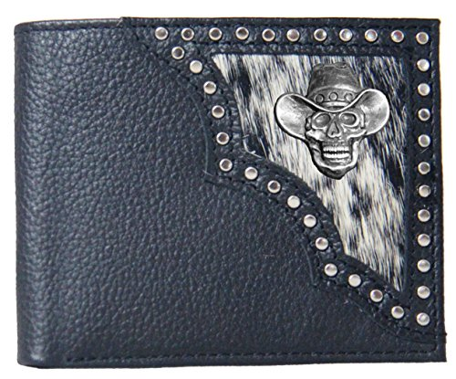 Cowboy Hair Skull Black on Wallet Bi Hide Justin Fold Custom tdI5wnqxad