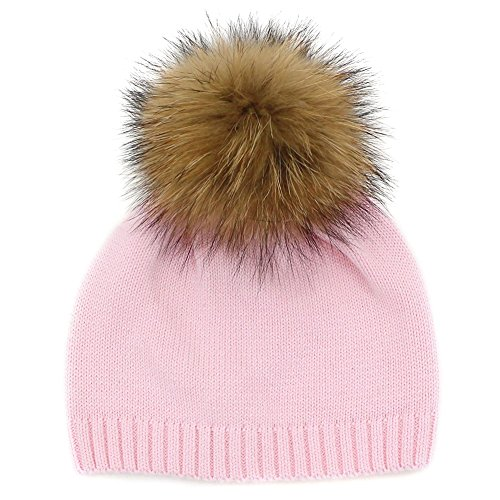GZHILOVINGL Crochet Knitted Cotton Beanies Cap Baby Toddler Real Fur Pom Pom Hat(Pink)