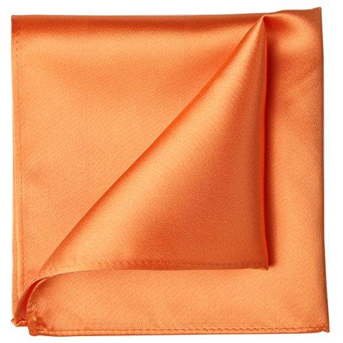 (KissTies Tangerine Orange Pocket Square Mens Satin Handkerchief + Gift Box)