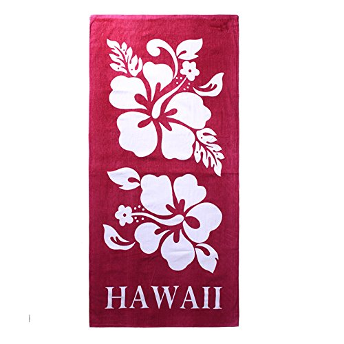 Hawaii Beach Towel 100% Cotton 60x30 Red Double White Giant Hibiscus Floral