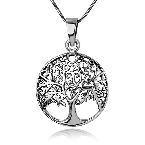 (Chuvora 925 Oxidized Sterling Silver Open Filigree Ancient Tree of Life Symbol Round Pendant Necklace, 18