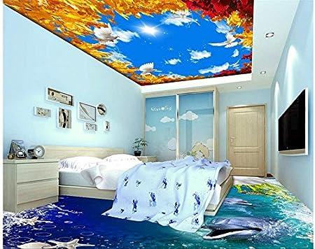 Lwcx 3d Ceiling Murals Wallpaper Sky Ceiling Wallpaper Golden Leaf