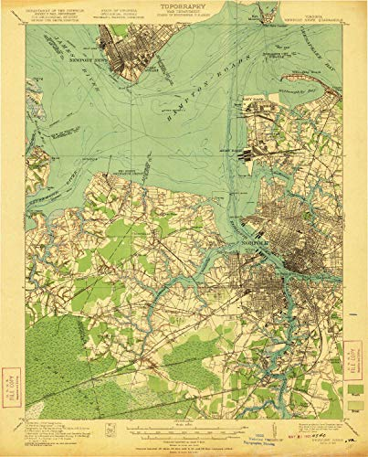 YellowMaps Newport News VA topo map, 1:62500 Scale, 15 X 15 Minute, Historical, 1921, 20.2 x 16.3 in - Polypropylene