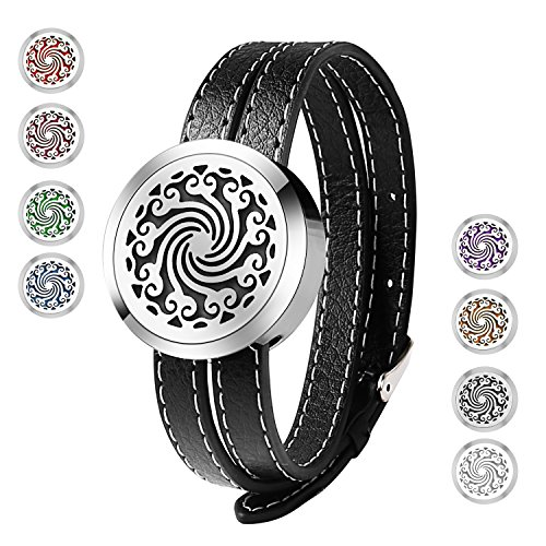Price comparison product image Essential Oil Diffuser Bracelet, Stainless Steel Aromatherapy Locket Bracelets Leather Band with 8 Color Pads, Girls Women Jewelry Gift Set