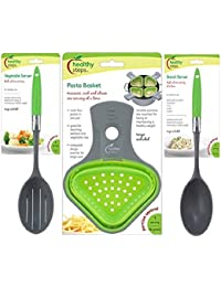 Gain (3 Piece Bundle Set) Jokari Healthy Steps Pasta Basket Vegetable Server and Starch Server Portion Control Kitchen... cheapest