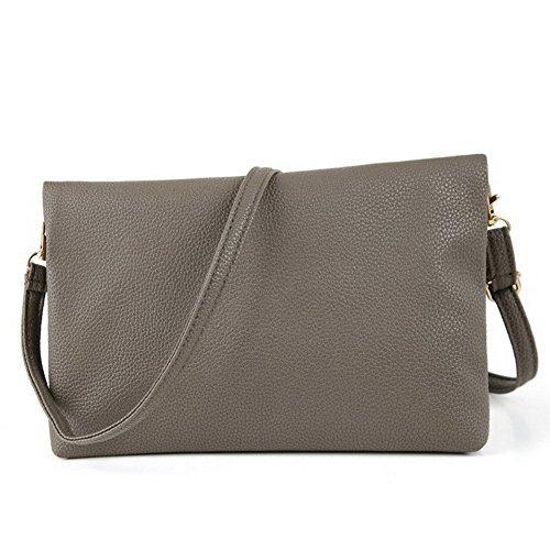 Bag Zipper Women's Kipten Grey Tassel Fashion Leather Bag Shoulder Wallet vqw7E