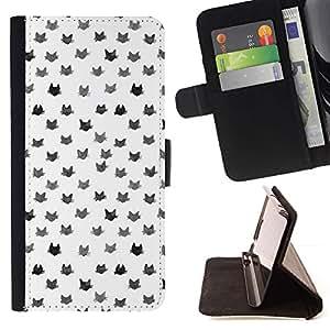 Momo Phone Case / Flip Funda de Cuero Case Cover - Patrón Gatos Blanco Gris lindo gato - Sony Xperia Z1 L39