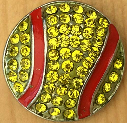 Snap.Chunk Button 20mm Yellow Softball Charm for Ginger Snap Style Jewelry SE-1101 ()