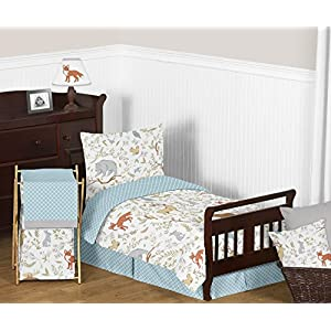 Sweet Jojo Designs Deer, Bear, Fox, Rabbit, and Squirrel Accent Floor Rug Bedroom Decor for Woodland Animal Toile Girl or Boy Kids Bedding Collection