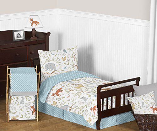 Sweet Jojo Designs 5-Piece Blue, Grey and White Woodland Deer Fox Bear Animal Toile Boy or Girl Toddler Kids Children's Bedding Comforter Sheet Set