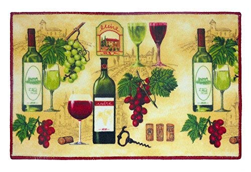 SOHO Kitchen Rug Anti-Slip Mat With Wine Theme, 18 x 28 Inches Rectangle