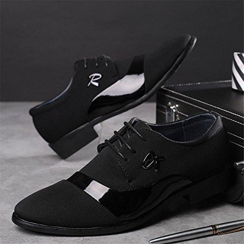 Chaussures Homme 2018, Richelieus à Lacets pour Hommes à Lacets Splice Vamp Leisure Shoes (Color : Noir, Taille : 37 EU) Noir