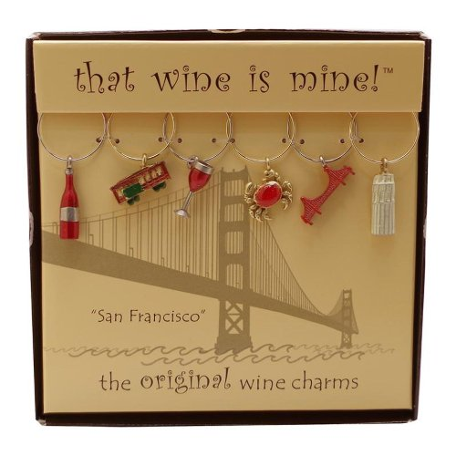 (Wine Things WT-1445P San Francisco, Painted Wine Charms, Fits neatly around stem, Multi-Color)