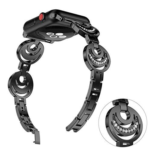 Fashion Women Sun Moon Crescent Crystal Bracelet Band Strap for Apple Watch 1/2/3 42mm (Black)