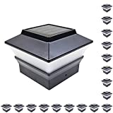 iGlow 18 Pack Black Outdoor Garden 4 x 4 Solar LED Post Deck Cap Square Fence Light Landscape Lamp Lawn PVC Vinyl Wood