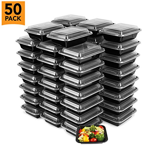 Halloween Food Meals (50-Pack Tiny Meal Prep Plastic Microwavable Food Containers Meal prepping & Lids. 12 OZ. Black Rectangular Reusable Storage Lunch Boxes -BPA-Free Food Grade- Freezer Dishwasher Safe -Premium)