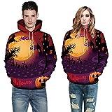 Women Men Tops Long Sleeve O-Neck 3D Print Halloween Couples Drawstring Hoodies Sweatshirt Pullover (XXXXXL, Orange 1497)