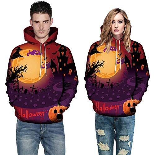 Wobuoke Women Men 3D Print Halloween Long Sleeve Christmas Sweatshirt Pullover Hoodies Tops Blouse -