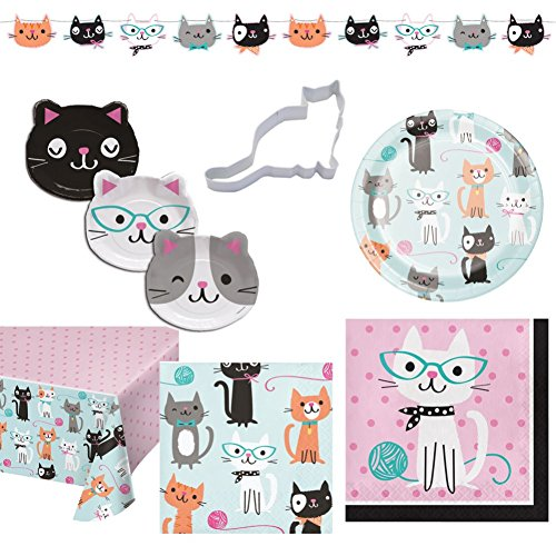 Cat Themed Purr-Fect Birthday Party Kit for 16 guests: Disposable Plates, Napkins, Tablecloth, 8-Piece Bundle ()