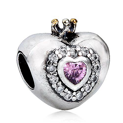 Princess Heart Bead Charm 925 Sterling Silver An Crown Beads fit for DIY Charms (Princess Gold Crown Charm)