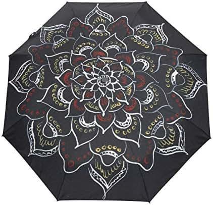 Rain-Love Daily Mandala Black Red Compact Travel Umbrella,Windproof, Reinforced Canopy,3 Folds Auto Open/Close Anti-UV Umbrella