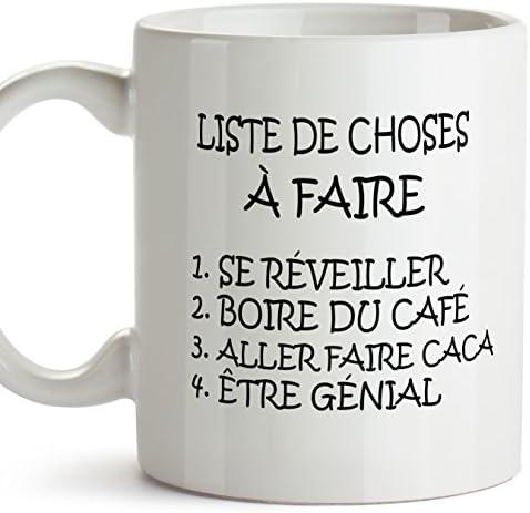Mug – Liste de Choses à Faire – to do List – Tasse pour Le Petit-déjeuner Originale et Amusante avec Un Message Rigolo. Cadeau pour amies ou à Offr