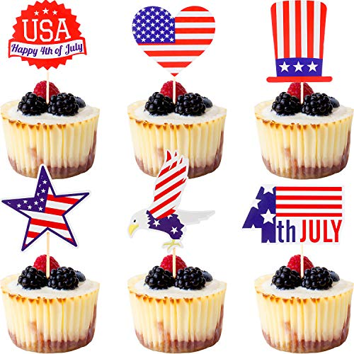 60 Pieces 4th of July Cupcake Toppers Patriotic Cake Topper Picks for Patriotic Theme Party Celebrating, 6 Styles