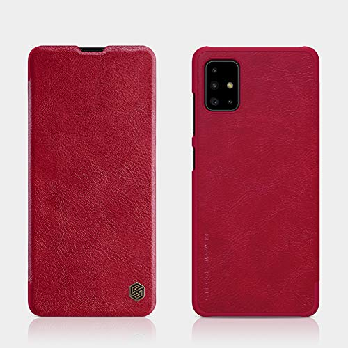 Nillkin Case for Samsung Galaxy A71 A 71 (6.7″ Inch) Qin Genuine Classic Leather Flip Folio + Card Slot Red Color
