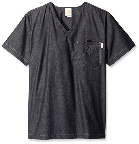 KOI Men's Big and Tall Earl Yarn-Dye Scrub Top With 4 Pockets, Black, 3X (Tall Mens Scrub Koi)