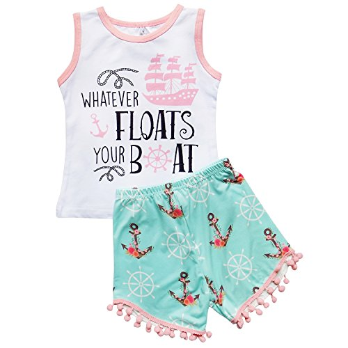 (So Sydney Girls Toddler Pom Pom Novelty Summer Pool Beach Vacation Shorts Outfit (3T (S), Floats Your)