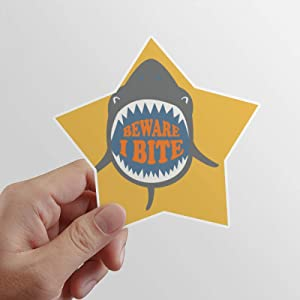 DIYthinker Beware I Bite Shark Illustrate Star Sticker Waterproof Vinyl Car Helmet Decal