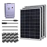 RENOGY® Premium Solar Panel Kit 300W Polycrystalline Off Grid: 3pc 100W Poly solar panel UL Listed+ 40A MPPT Charge Controller+ MC4 20ft Adapter Kit+ Mounting Z Brackets