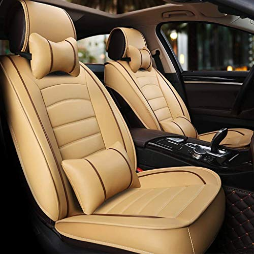 Car seat covers, universal with leather seats for front and back, breathable with cushions (color: beige):