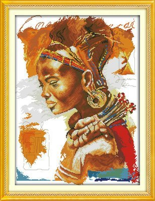 Joy Sunday Cross Stitch kits, The African woman,14CT Counted