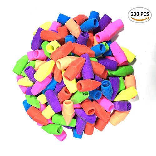 200 Pcs Pencil Eraser Caps Assorted Colors,Red, Yellow, Green, Blue, Purple, Orange ()