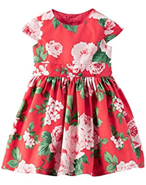 Carters Baby Girl Floral Sateen Dress