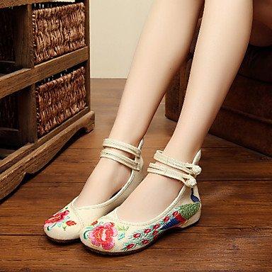 Cómodo y elegante soporte de zapatos de la mujer zapatos lienzo primavera/verano/otoño Mary Jane/comodidad Flats Casual soporte de talón hebilla/Flores Negro/Azul verde
